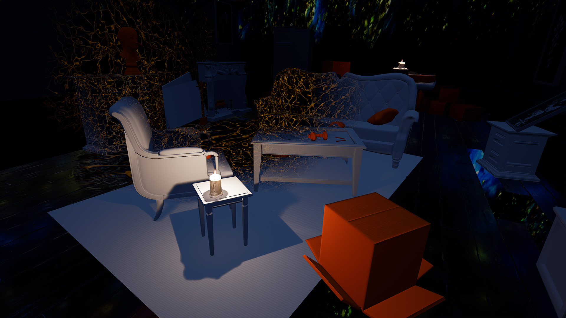 furniture on white carpet
