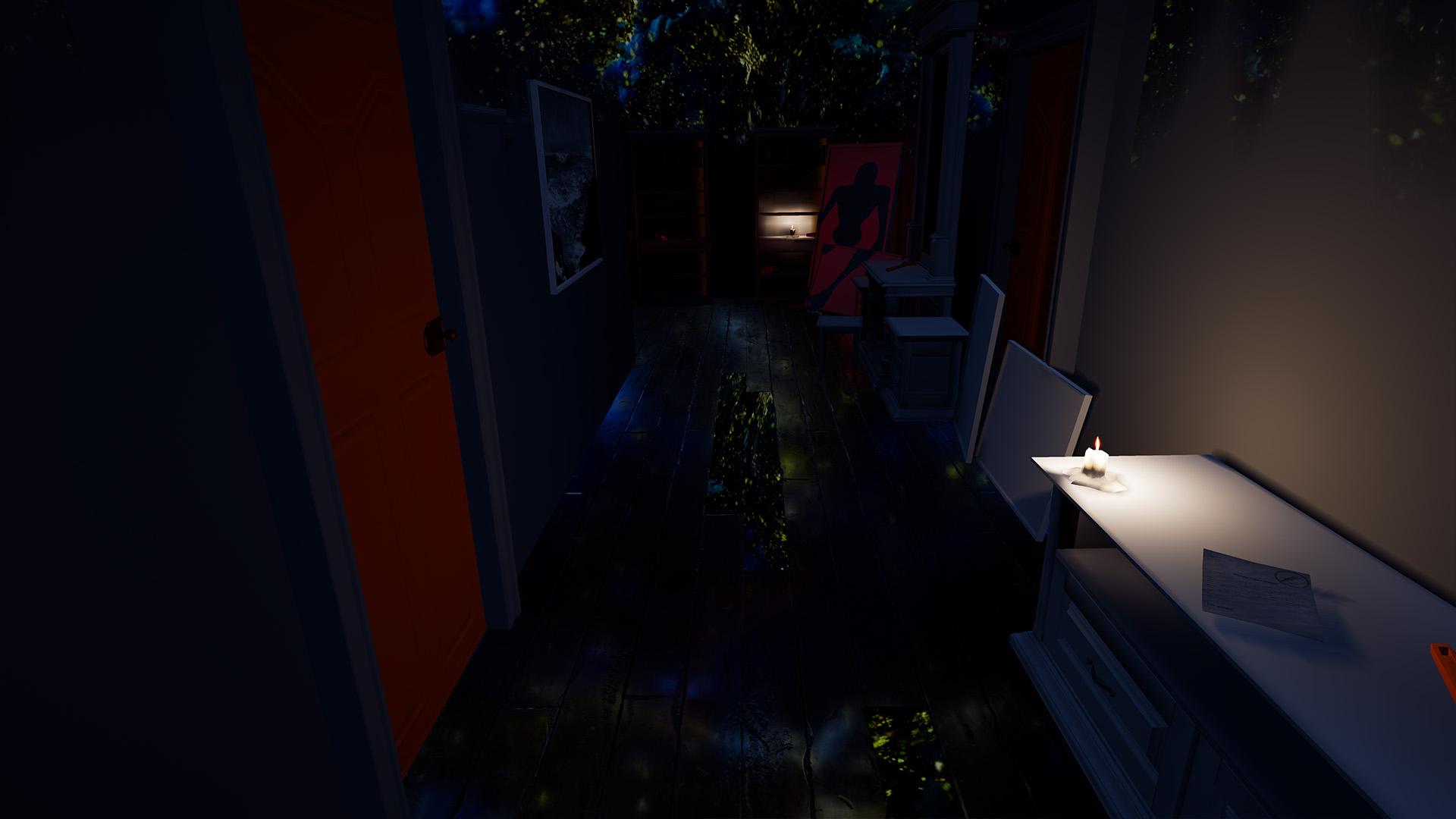 Dark hallway with zombie