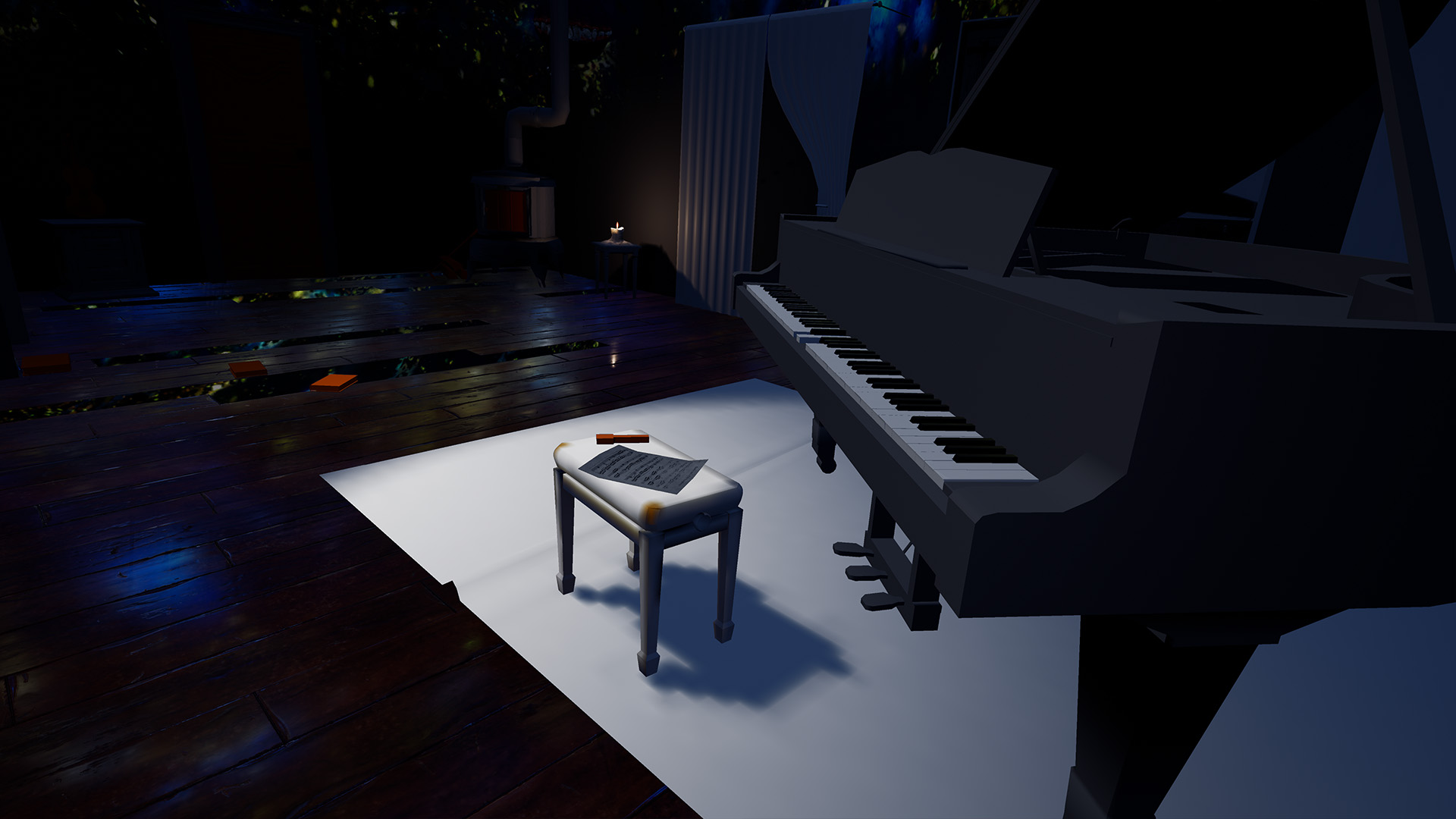 Piano in dark room